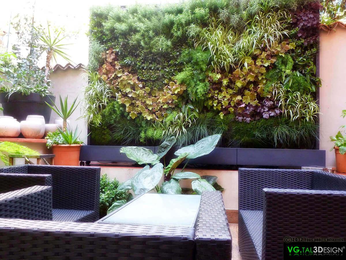 mur végétal aménagement extérieur gamme oxygène (plantes vivantes